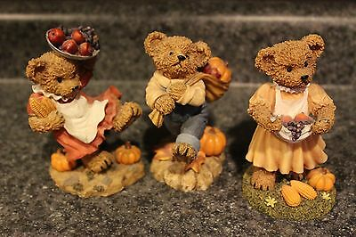 Lot: 3 Homco/home Interiors Collectible Ceramic Bears #11768- Fall Harvest Figu