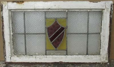 MID SIZED OLD ENGLISH LEADED STAINED GLASS WINDOW Bright Abstract Shield 27 x 16