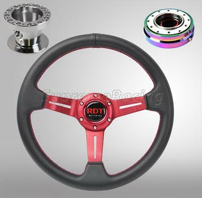 Red Steering Wheel Combo Kit w/Neo Chrome Quick Release For Honda Civic 96-00