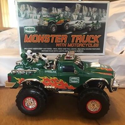 RARE 2007 Hess Truck: Monster Truck with 2 Motorcycles! New in box!!