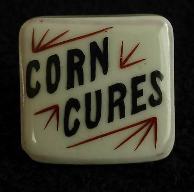 Corn Cures Antique Porcelain Apothecary Pharmacy Cabinet Drawer Knob Pull
