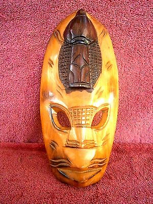 VINTAGE   HAND  CARVED  WOOD  FACE  MASK   25cm.