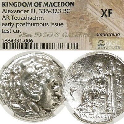 ALEXANDER the Great NGC XF Tetradrachm Corinth 2 NIKES Ancient Greek Silver Coin