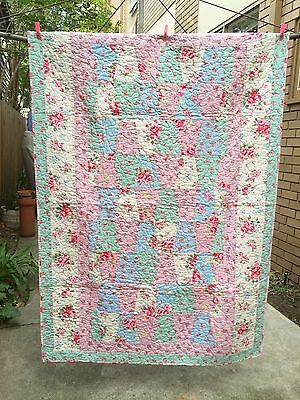 Patchwork Quilt Handmade Cot Size Lap Quilt Pastel shabby Roses Nursery Baby Bed