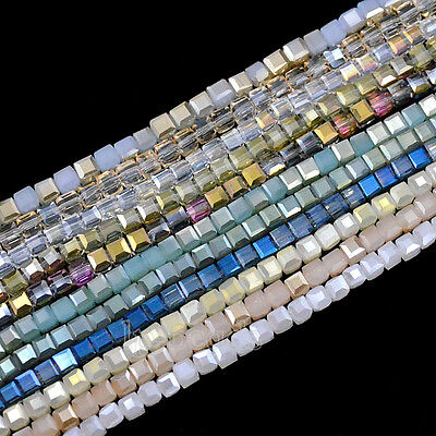 Top Quality 100Pcs Faceted 4mm Square Czech Crystal Loose Beads Jewelry Design