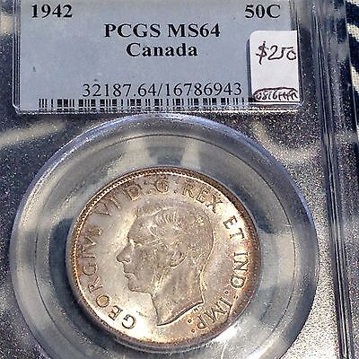 1942 Canada Half Dollar PCGS MS64 Irridescent Beauty Price Reduced CHN!
