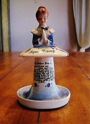 Rare Blue Vintage Enesco The Kitchen Prayer Praying Lady Spoon Storage Figurine