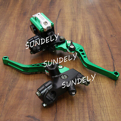 "Green 7/8"" CNC Motorcycle Front Brake Clutch Master Cylinder Lever Set Reservoir"