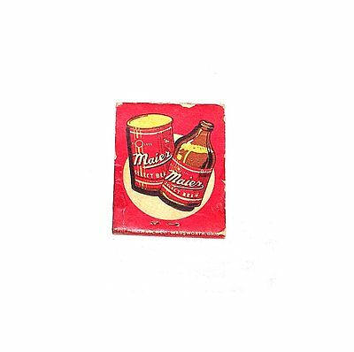 40s Maier Beer Intact Matchbook Match Cover California Flat Top Can Sign Offr