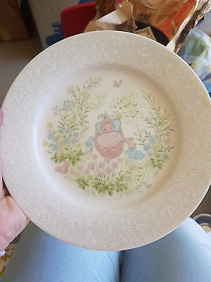 Noritake Porcelain Plate with baby in a rocking basket