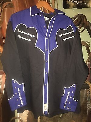 MEN'S PANHANDLE SLIM WESTERN SHIRT Black And Blue Retro Wear