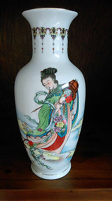 Chinese Large White Vase Gold Trim, Colorful Elegant Asian Lady & Floral Scene
