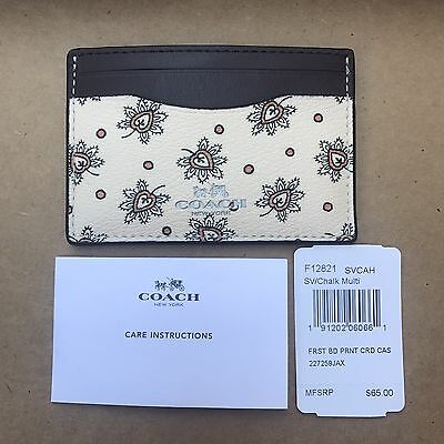 New Coach First Bird Printed Card Case Credit Card Holder Mini Wallet 12821