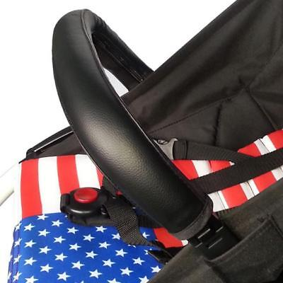 Black Brown Zip On Leather Handle Bar Cover Sleeve For Baby Stroller Pushchair A