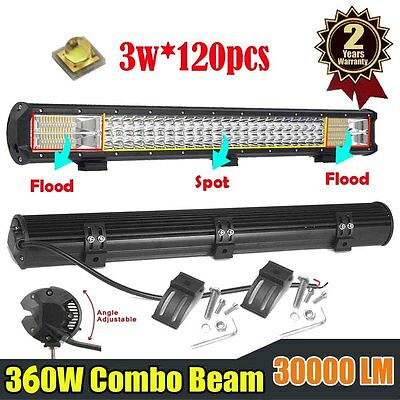 26inch 360W CREE Led Work Light Bar Spot Flood Offroad Driving Lamp Truck 4WD