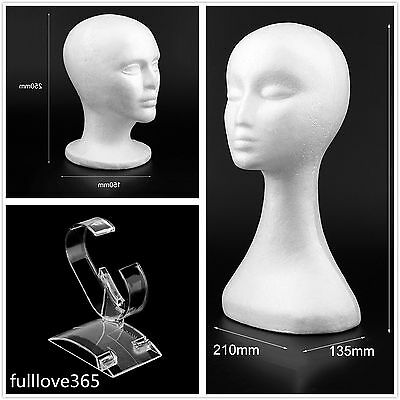 Long Male/Female Mannequin Head Model Bubble Wig Hat Display Mannequin Head VO