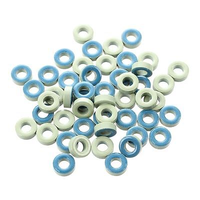 Q4 50Pcs Pale Green Blue Iron Core Power Inductor Ferrite Rings AT44-52 11×6×4