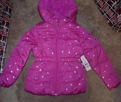 NEW PINK PLATINUM Girls Stars Puffer Winter Jacket Coat 7 8 Hooded NEW NWT