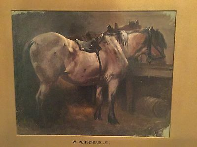 Attr. to Wouterus Verschuur Jr Antique Dutch 19th C. Oil on Panel Horse Painting