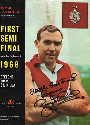 SIGNED x 2 Bob Skilton1968 Souvenir Football Record_VFL AFL_With ADS_Beer_Petrol