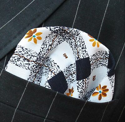 Hankie Pocket Square Cotton Handkerchief Black White Check Yellow Flower CH033