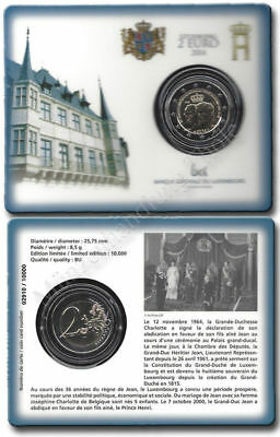 Luxembourg 2015: 2 Years Throne jubilee Henri official coin card Blister