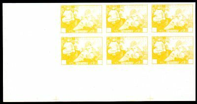 Liberia: 1949 Love of Liberty 3c. progressive proof 6-blk - yellow