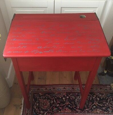 Upcycled Vintage School Desk With Ink Well