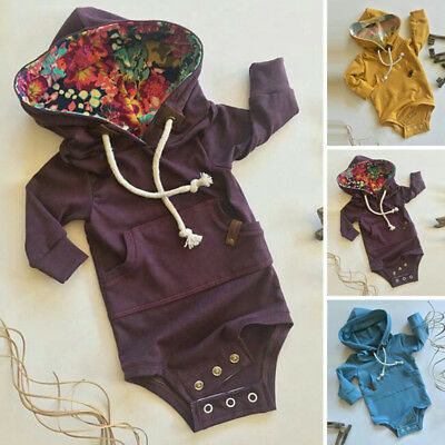 Kids Baby Boy Warm Infant Romper Jumpsuit Bodysuit Hooded Clothes Outfit Outwear