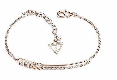 Ladies GUESS linear logo bar bracelet rose gold