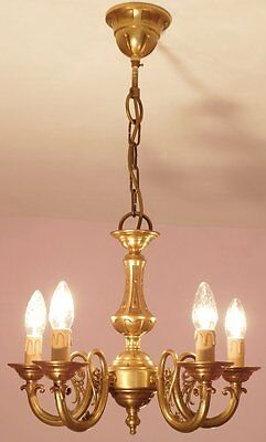 Handsome 5 Light Vintage French Bronze Empire Chandelier