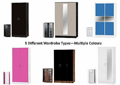 Alpha High Gloss Wardrobe - 2 or 3 Door Mirrored or Sliding - Bedroom Furniture