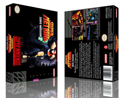 Super Metroid Zero Mission SNES Replacement Game Case Box + Cover Artwork Art