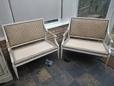 Pair of antique French Louis XVI style  love seats