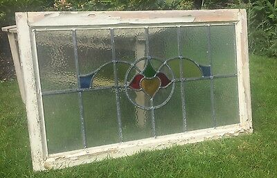 Reclaimed Art Deco Antique Leaded Stained Glass Window