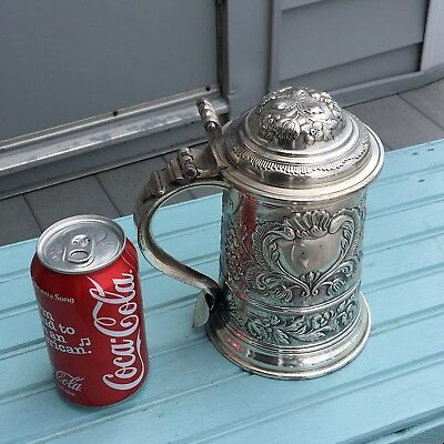 VTG German Silver Plated BMF Lidded Beer Stein THISTLE Heavily Embossed Design
