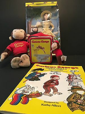 5 pc CURIOUS GEORGE ASSORTED COLLECTIBLE ITEMS Barbie, Plush, Paper Dolls