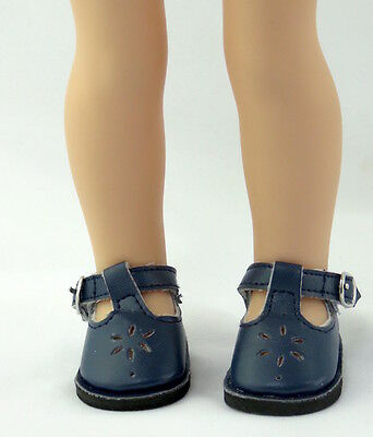 """Navy Flower Dress Shoes Fits Wellie Wishers 14.5"""" American Girl Clothes Shoes"""
