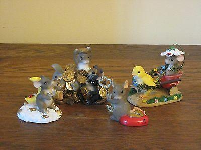 4 Fitz & Floyd Charming Tails Figurines Mouse Ladybug MINT!!