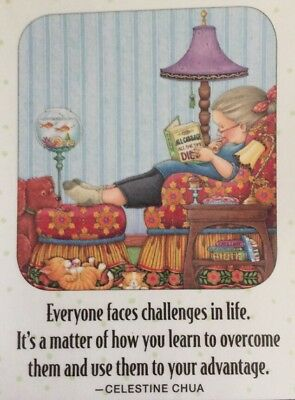 Handmade Fridge Magnet-Mary Engelbreit Artwork-Everyone Faces Challenges