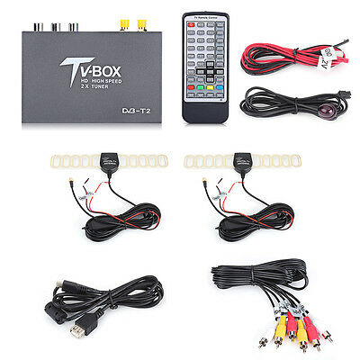 HD DVB-T2 Car Vehicle Mobile Digital TV Box Dual Antenna Analog Tuner Receiver