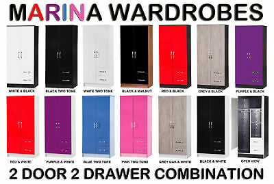 Marina High Gloss Combi Wardrobe 2 Door 2 Drawer - Childrens Bedroom Furniture