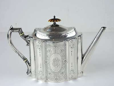 English Hallmarked Sterling Teapot Dated 1878. Maker: James Dixon & Sons