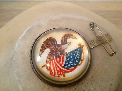 Antique horse bridle pin eagle with American flag domed glass brass back
