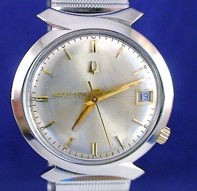 "Bulova Accutron 218D SS and GP ""Bowtie"" watch with NOS USA matched stretch band"