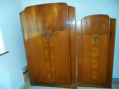 Art Deco  style Matching Dependable  His and Hers Walnut Vaneer Wardrobes