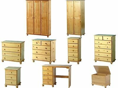 Sol Antique Pine Solid Bedroom Furniture Wardrobes Drawers Bedside Desk Sets