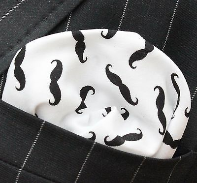 Hankie Pocket Square Cotton Handkerchief Moustache White & Black CH064