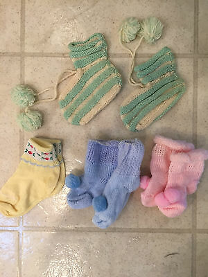 Vintage Baby Booties Socks Hand Knit Doll Clothes 1954