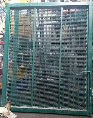 "Used Green Steel Gates C/w posts 112"" Overall Wide + posts  69""  High, Green,"